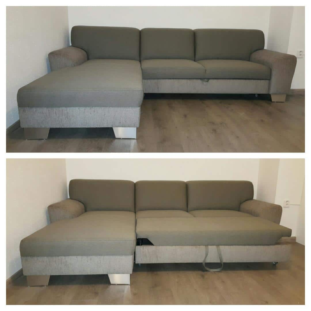 Sedačka Hardy s funkciou rozkladu na 2-posteľ, V kombinácii poťahových materiálov Bombay/Bexy. Rozmer: 185x275cm